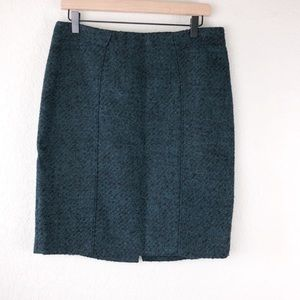 Banana Republic Wool Teal and Black Pencil Skirt